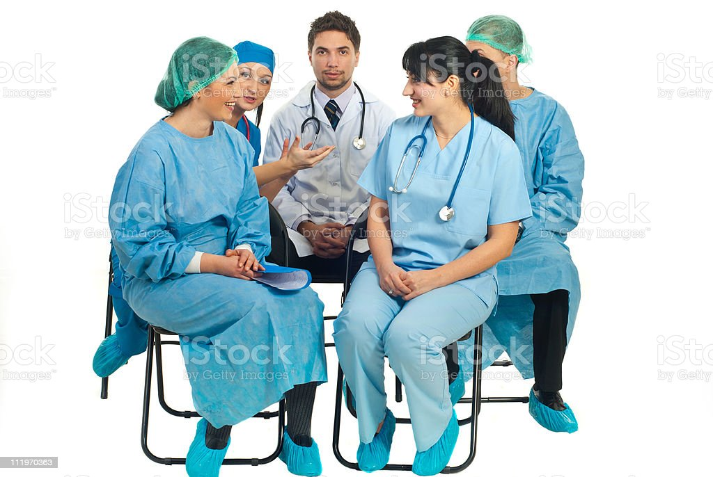 Doctors conversation on chairs royalty-free stock photo