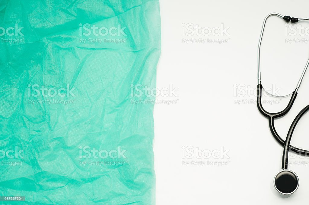 Doctor's desk with medical accessories and products. Top view stock photo