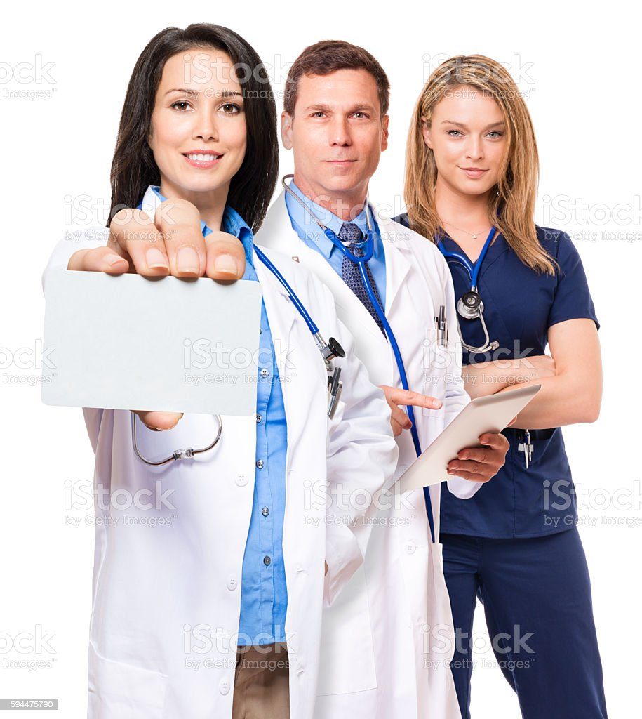Doctors nurses with blank credit business card isolated on white stock photo