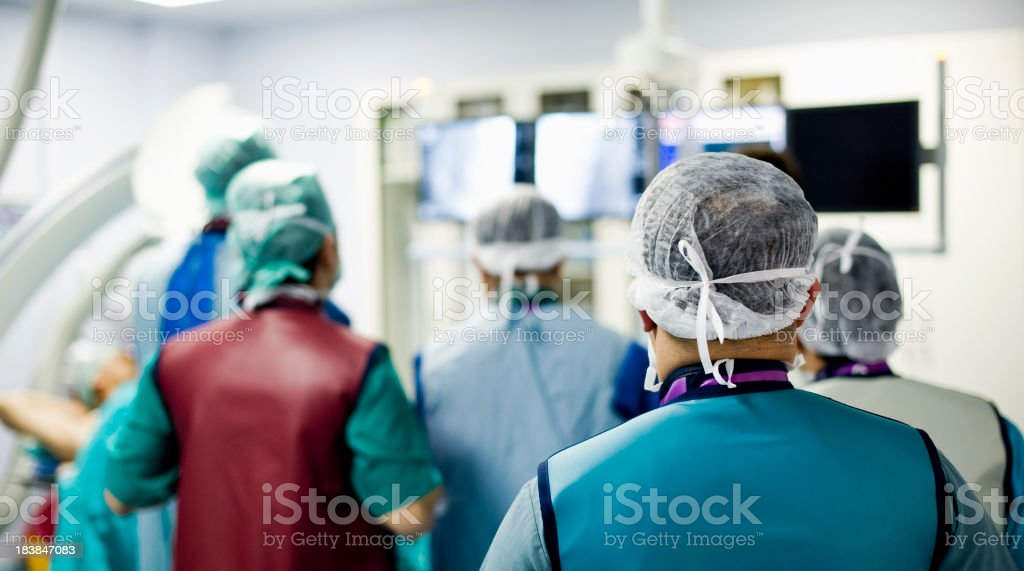 Doctors observe angio operation stock photo