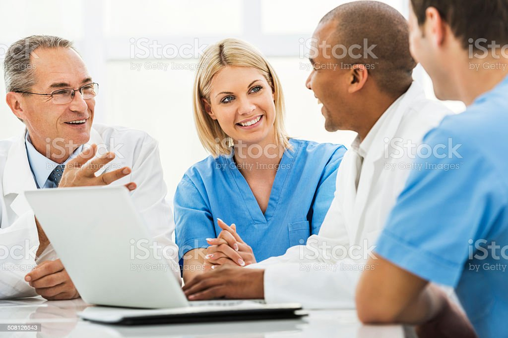 Doctors on a meeting. stock photo