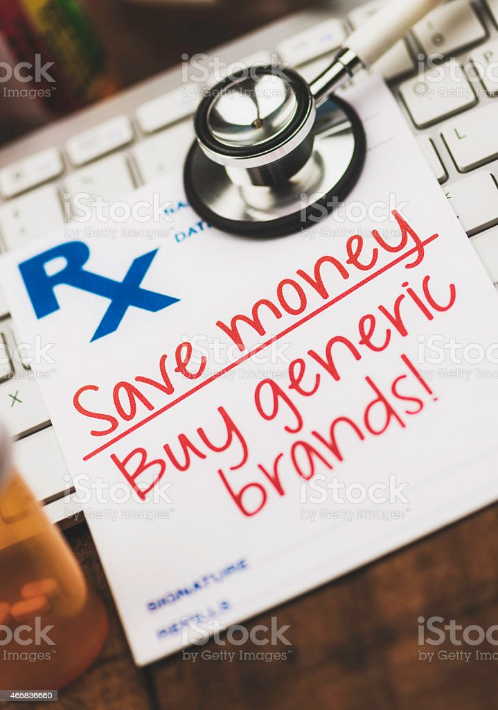 Doctor's Orders. Prescription form reading Save money, buy generic brands! stock photo