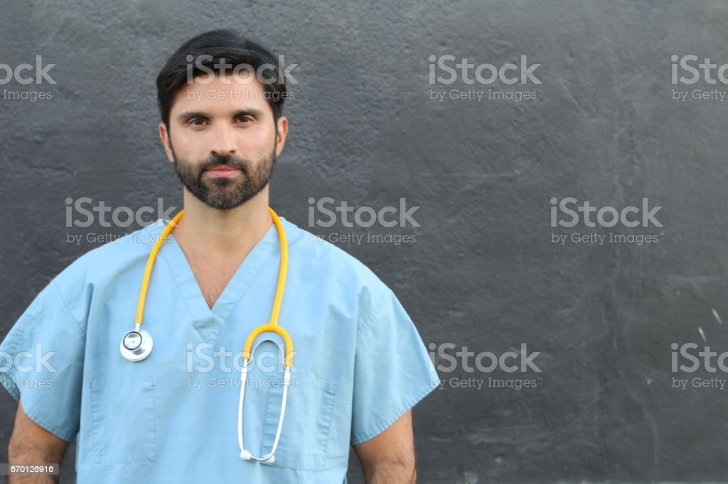 Doctor's portrait with copy space stock photo