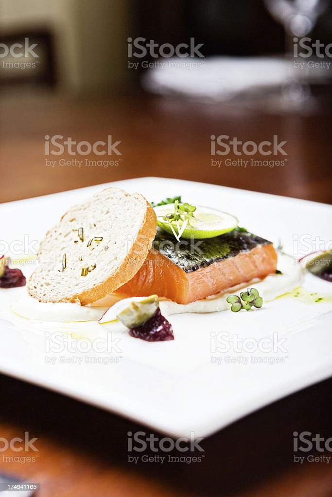 Doctors recommend eating oily fish like this salmon regularly royalty-free stock photo