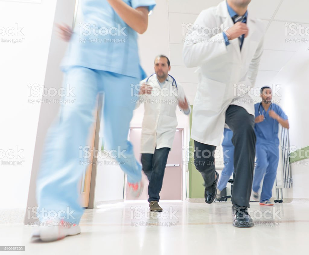Doctors running at the Emergency Room stock photo