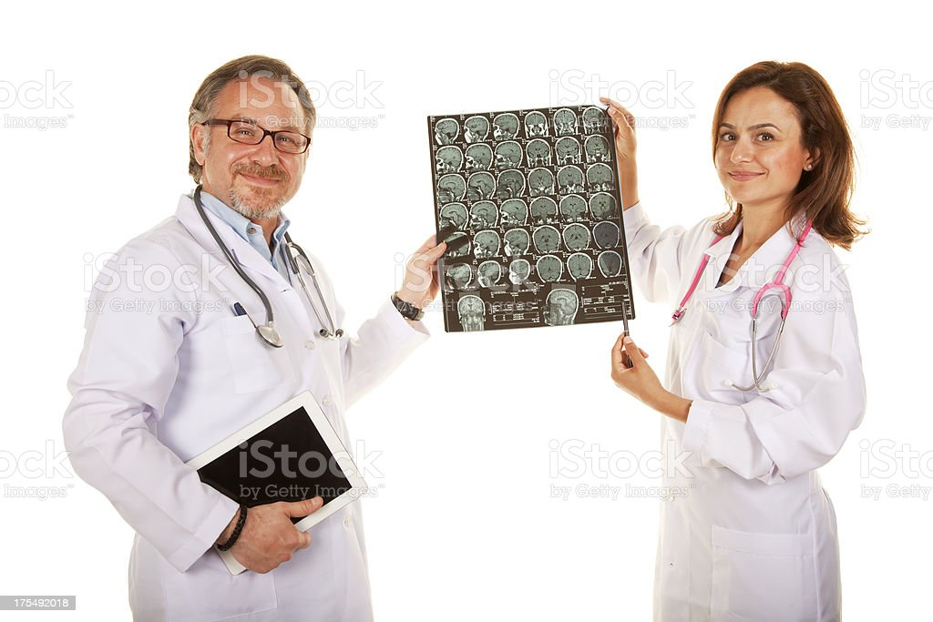 Doctors showing brain X-ray royalty-free stock photo