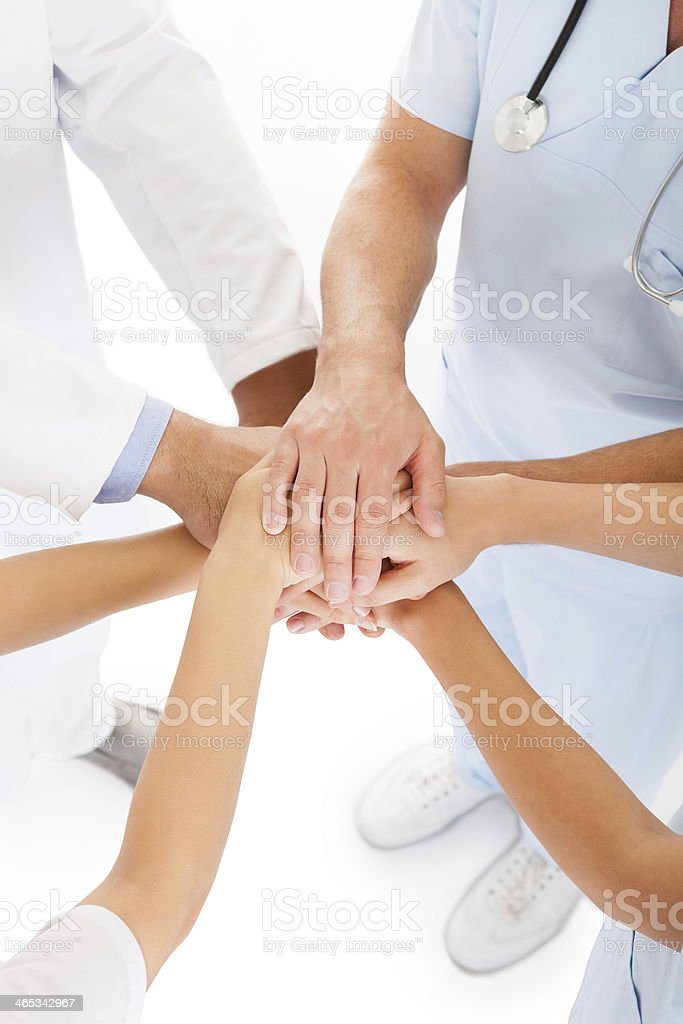 Doctors Stacking Hands royalty-free stock photo