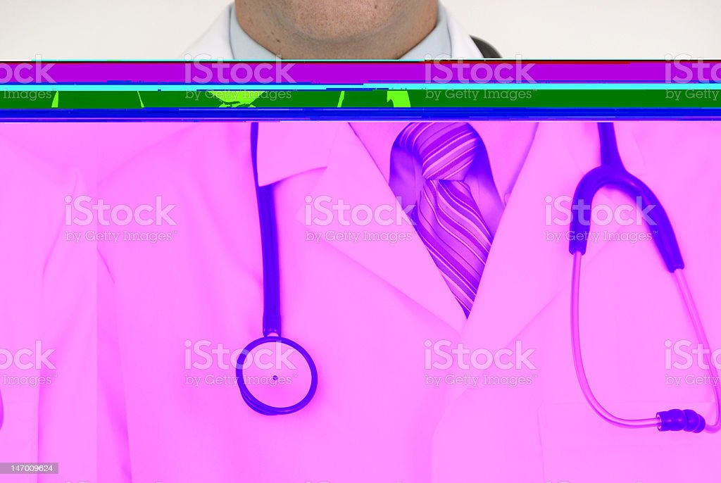 Doctor's upper torso, shaded in bright color strips stock photo