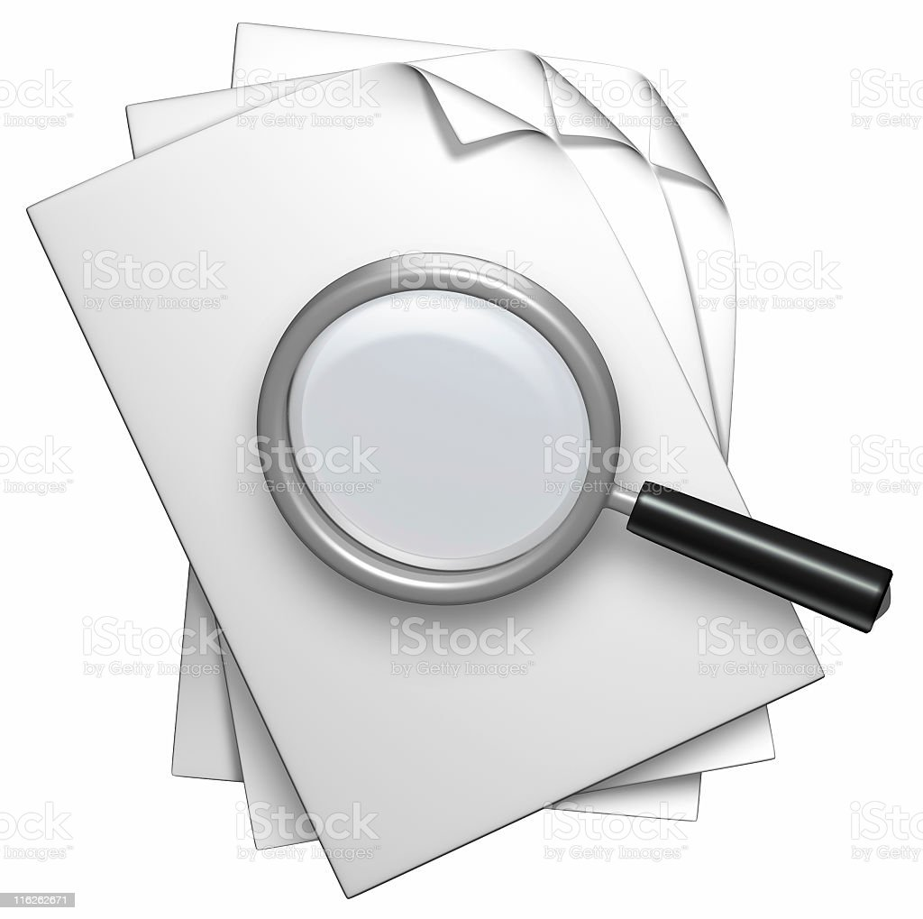 document and loupe royalty-free stock photo