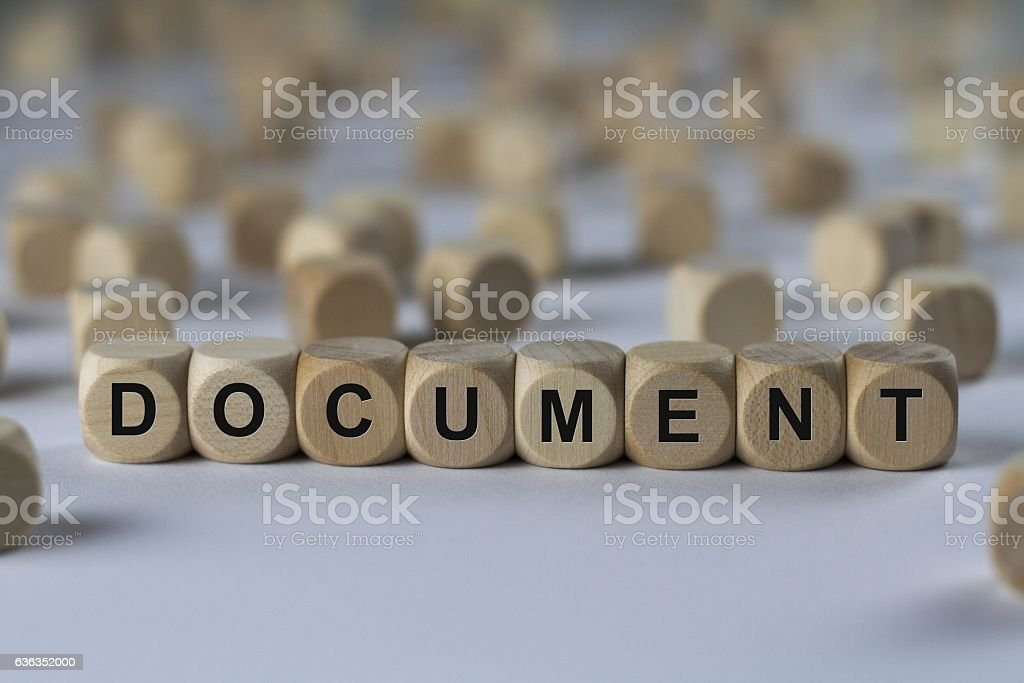 document - cube with letters, sign with wooden cubes stock photo