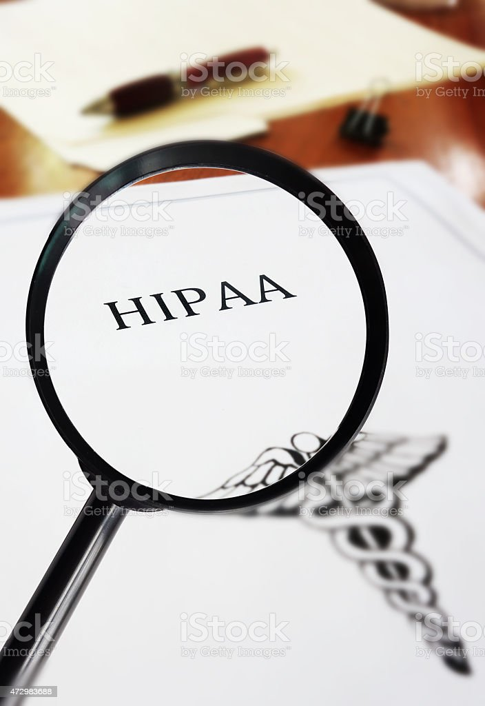 HIPAA document magnified stock photo