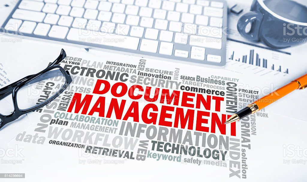 document management word cloud on office scene stock photo