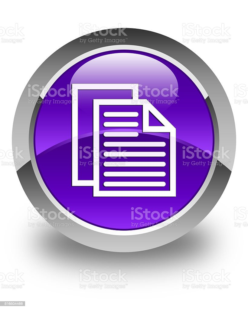 Document pages icon glossy purple round button stock photo