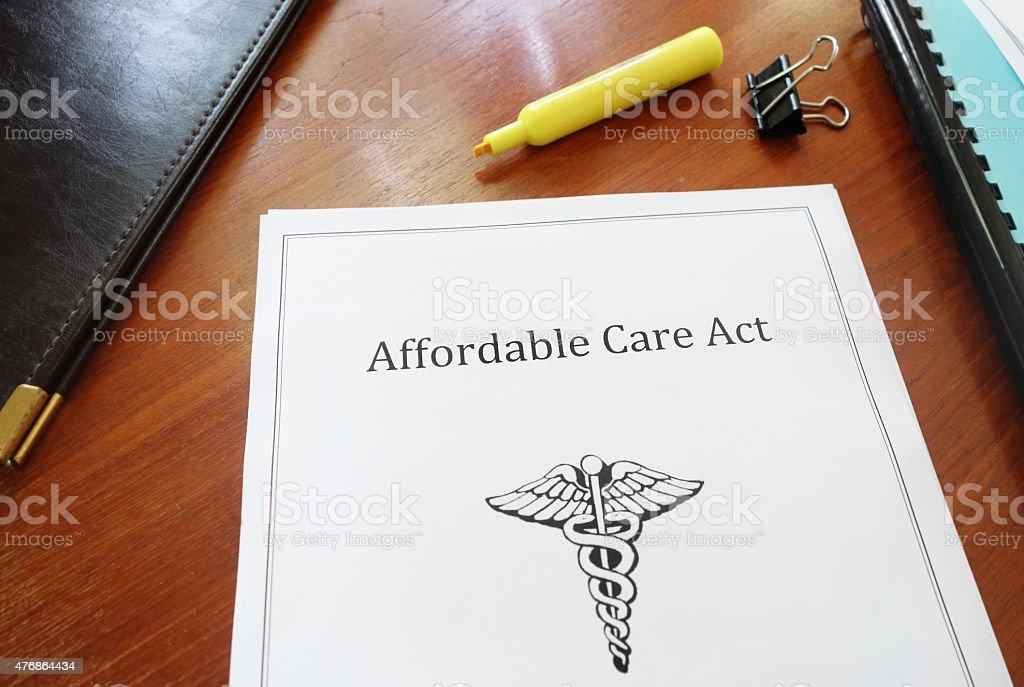ACA document stock photo