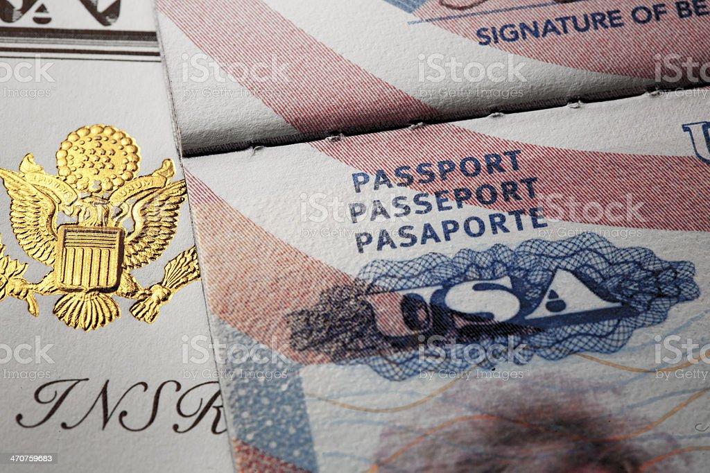 Document with symbols of the USA passport. stock photo