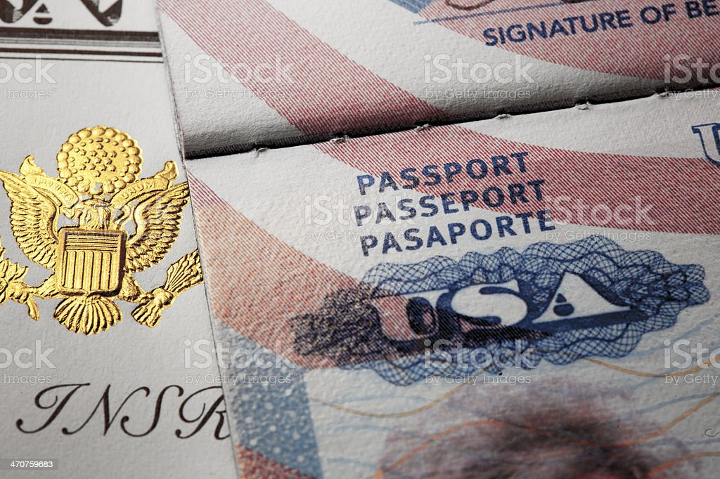 Document with symbols of the USA passport. stock photo