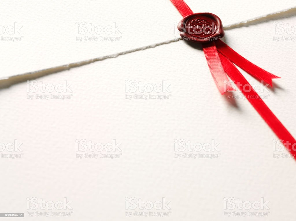 Document with Wax Seal of Approval stock photo