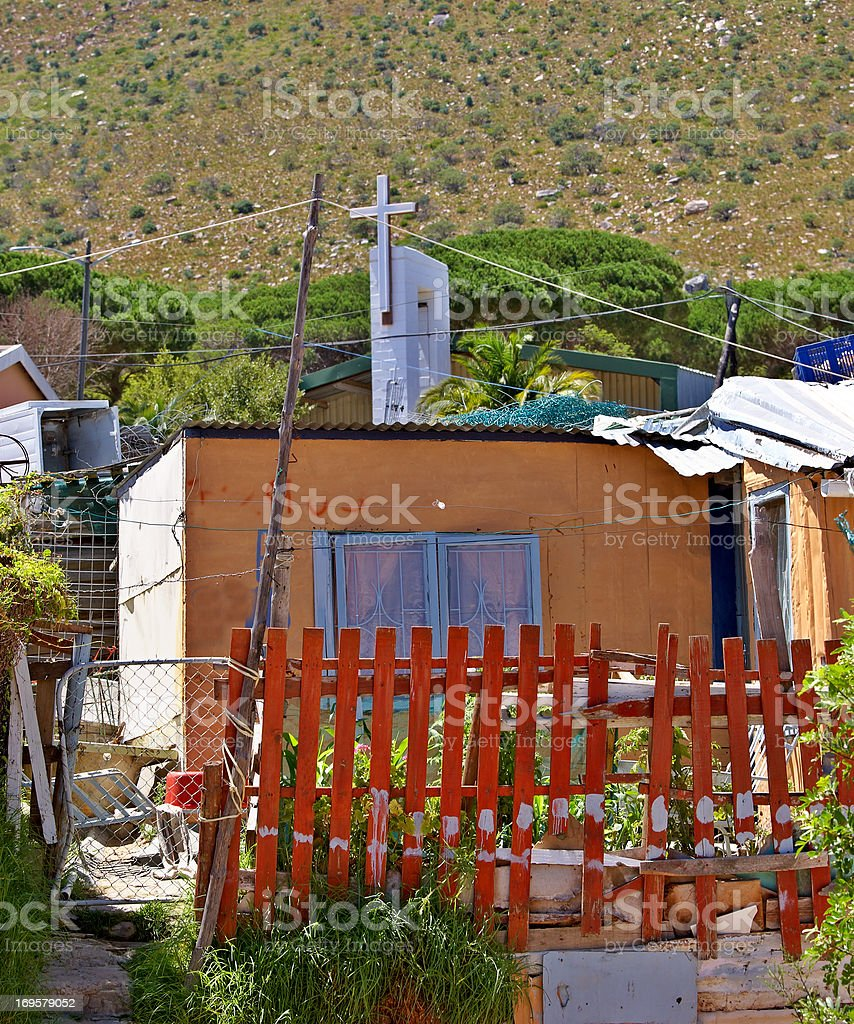 Documentary: Editorial photo of a poor black township (informal setting) close to Cape Town, South Africa royalty-free stock photo