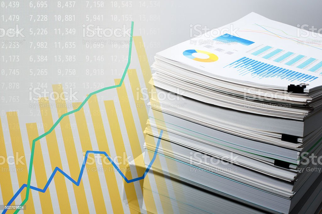 Documentation and data analysis. Business concept. stock photo