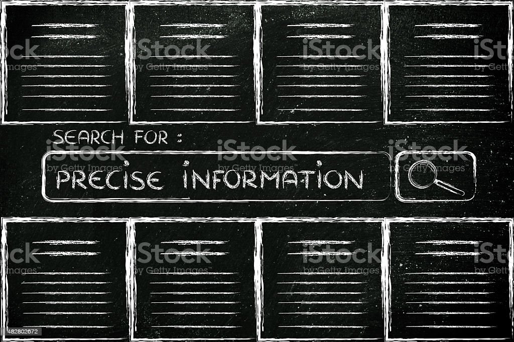 documents and search bar, looking for precise information stock photo