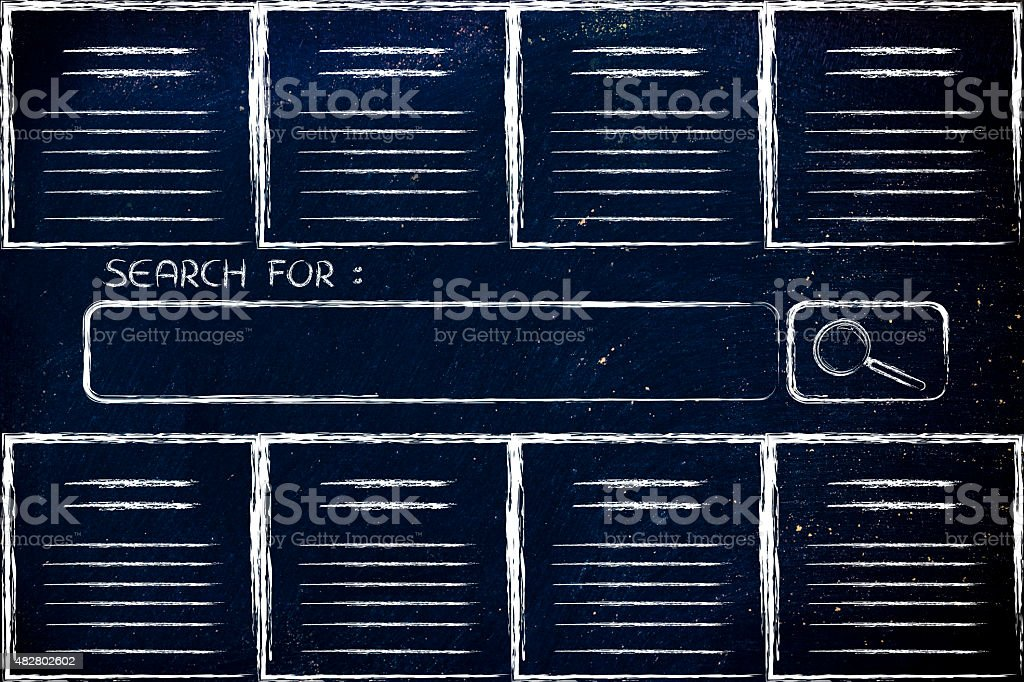 documents and search engine bar stock photo