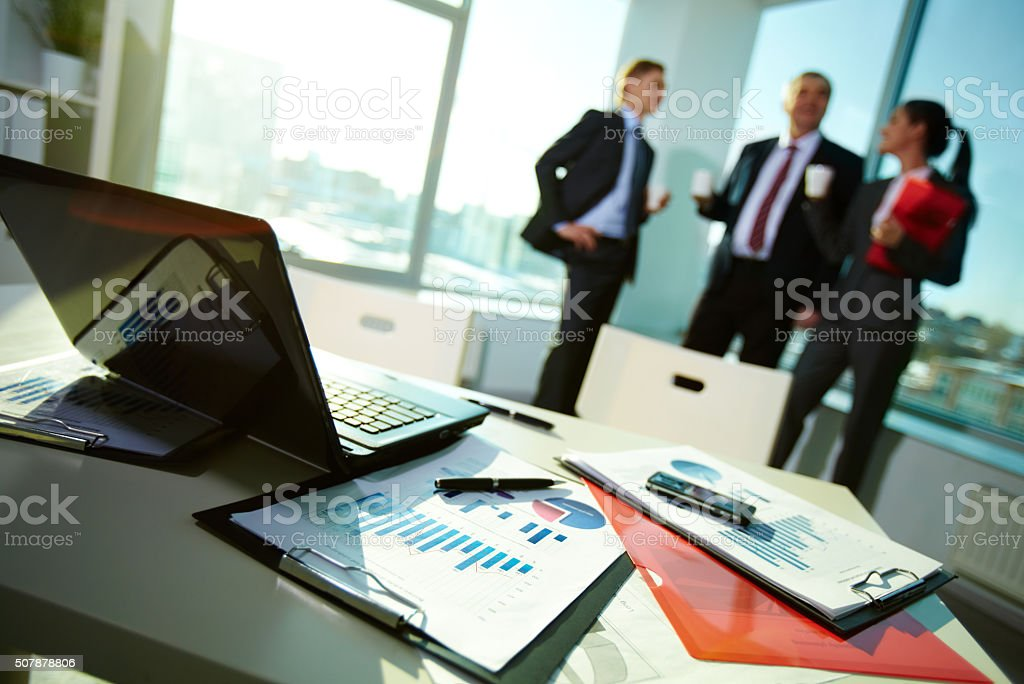 Documents at workplace stock photo