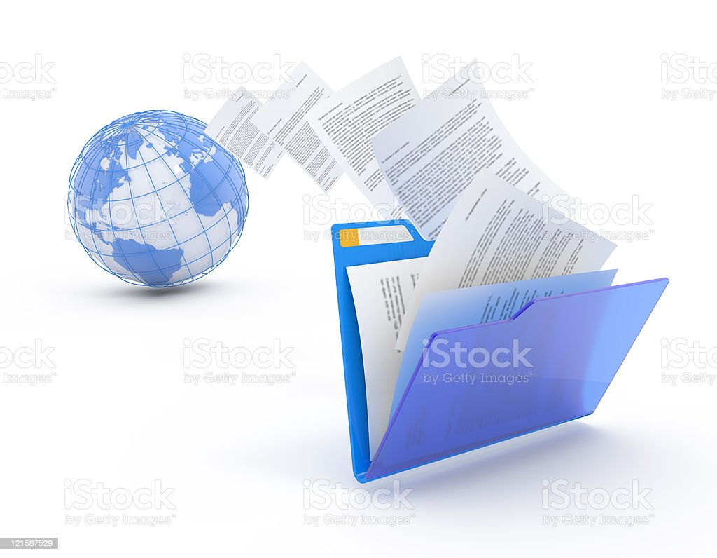 Documents floating between globe and folder stock photo