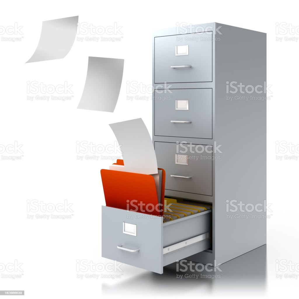 Documents flying into filing cabinet - isolated/clipping path royalty-free stock photo