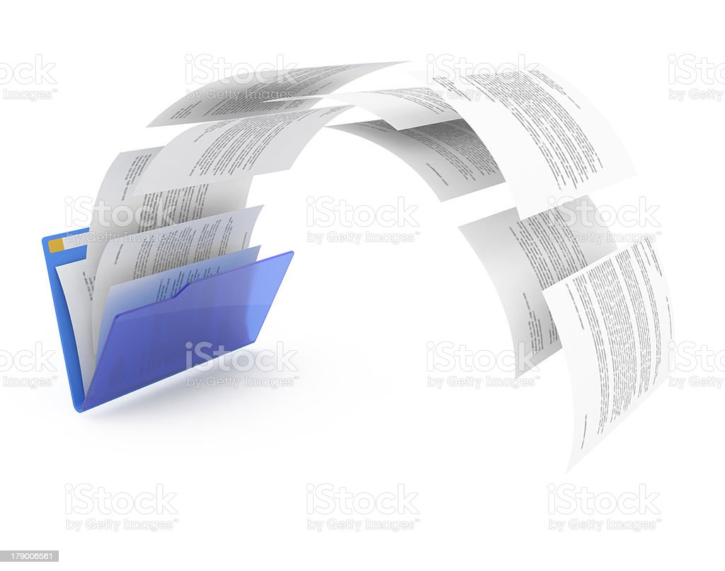 Documents from blue folder. royalty-free stock photo