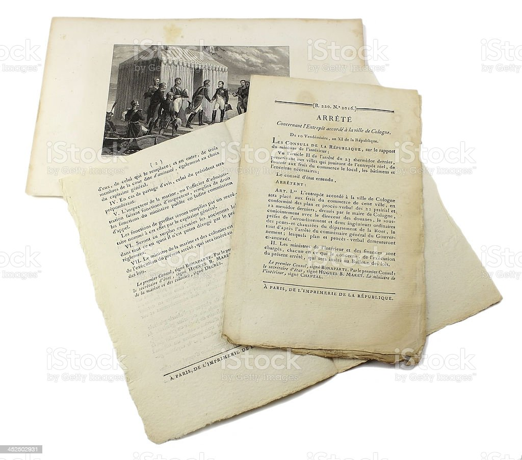 Documents Napol?on 1er Consul - arr?t? stock photo