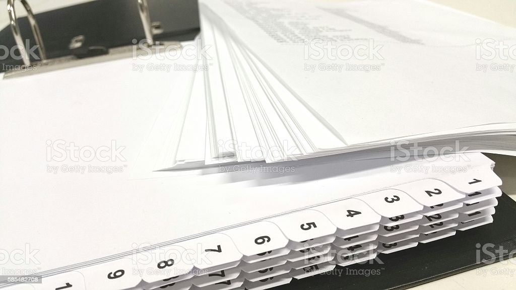 Documents numbered dividers stock photo