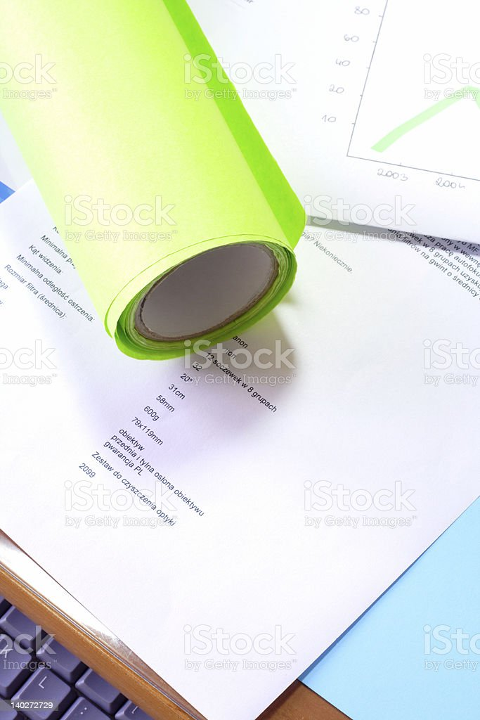 documents on desk stock photo