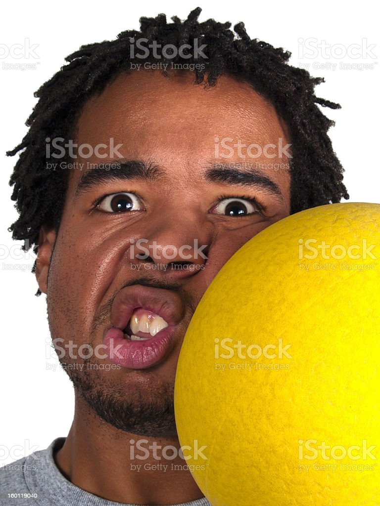 Dodge Ball Player Getting Hit on the Face stock photo