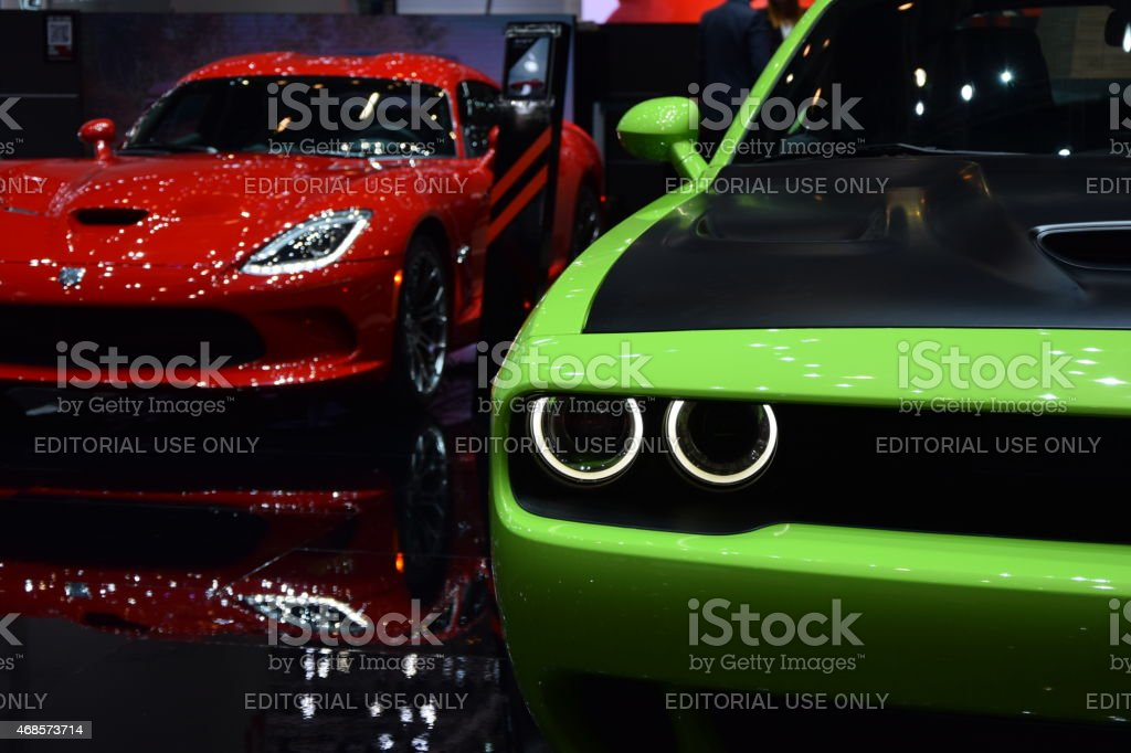 Dodge Challenger and Viper on the motor show stock photo
