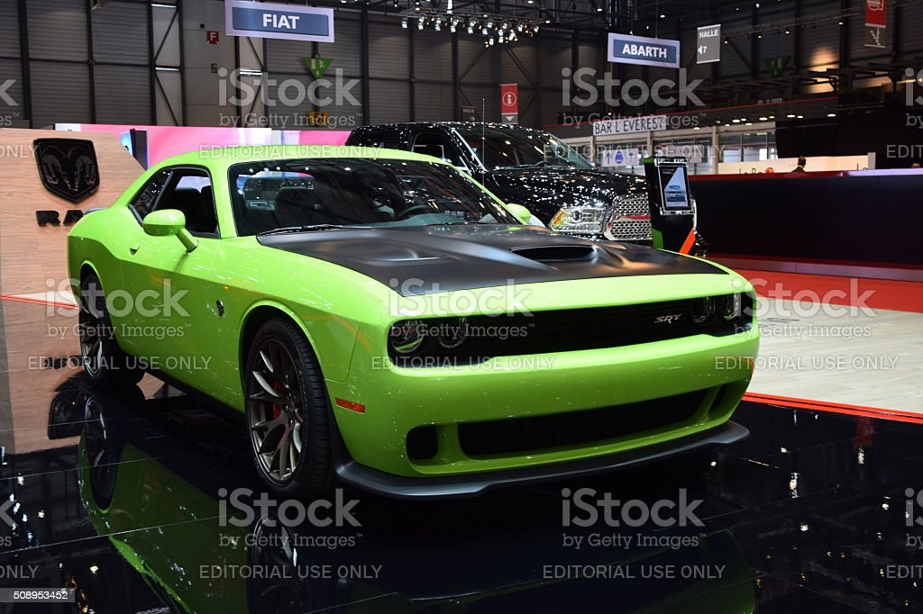 Dodge Challenger SRT on the motor show stock photo