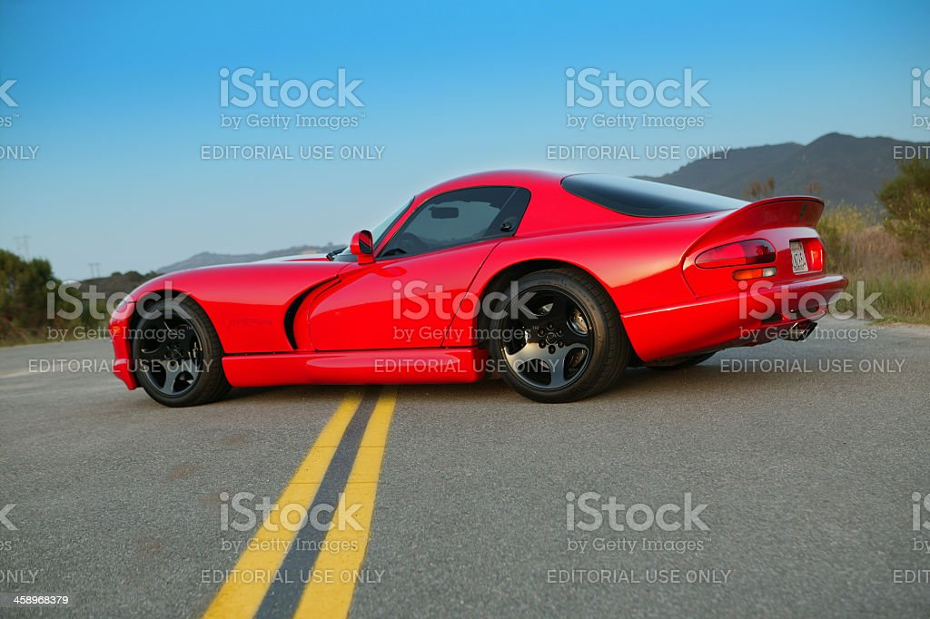 Dodge Viper GTS on double yellow stock photo