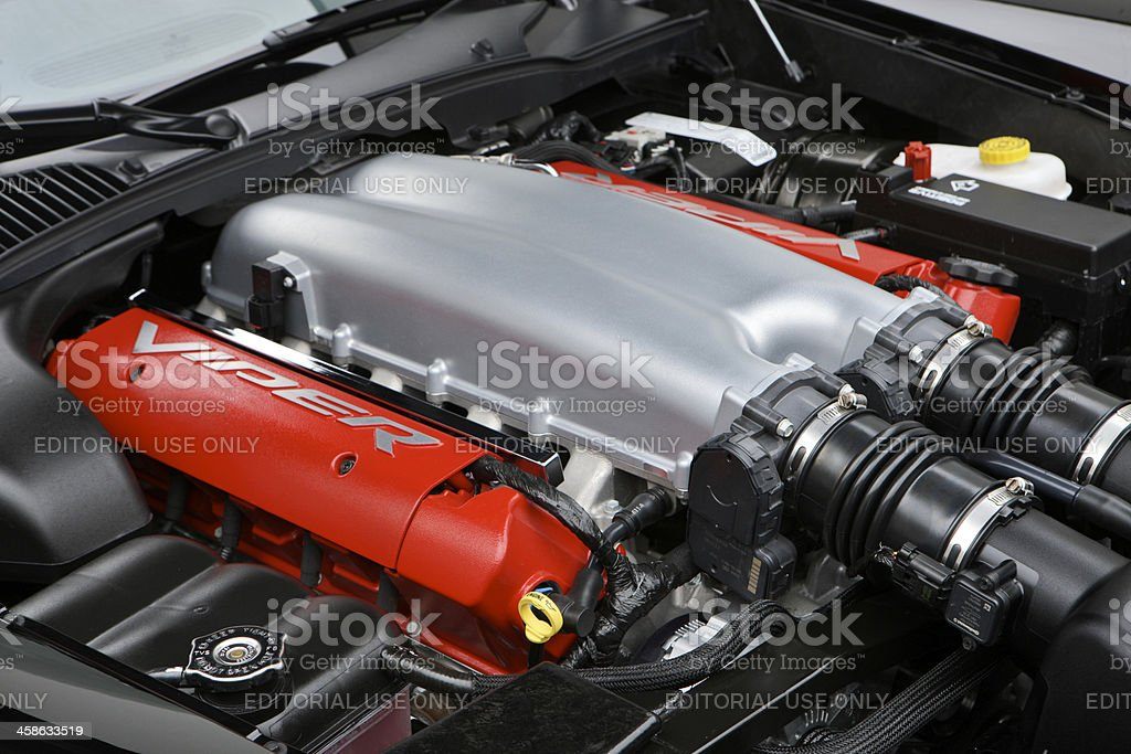 Dodge Viper motor side view stock photo