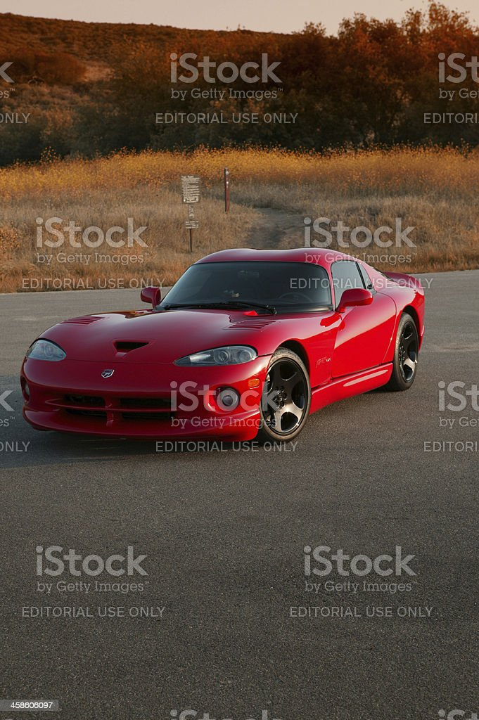 Dodge Viper parked at sunset stock photo