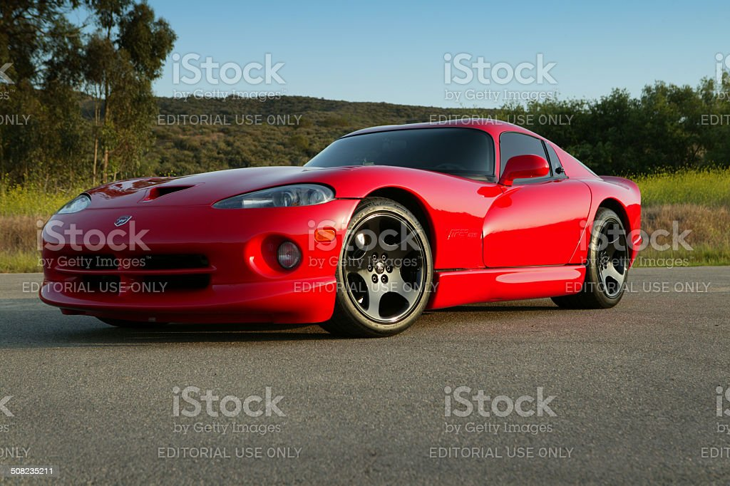 Dodge Viper red low angle stock photo