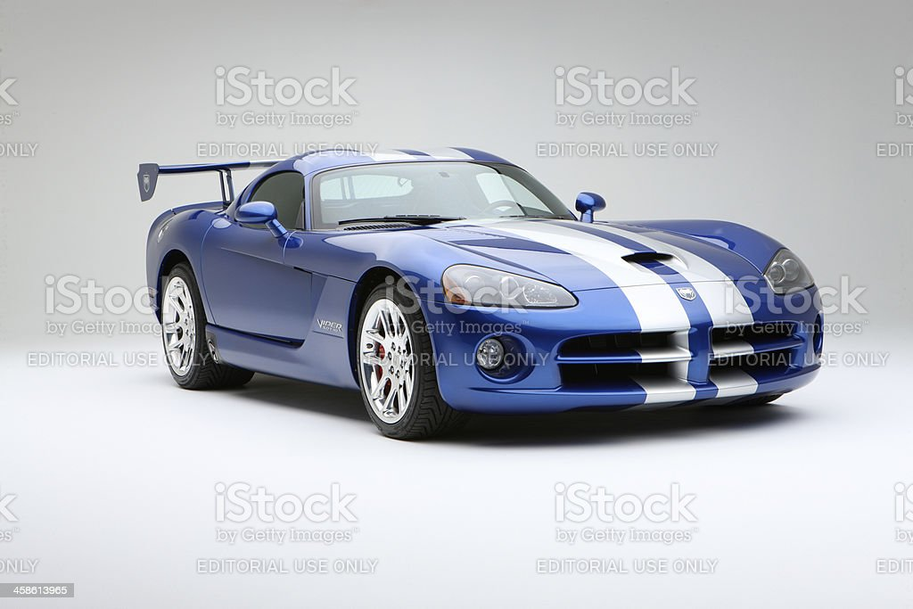 Dodge Viper SRT10 front silver over blue stock photo