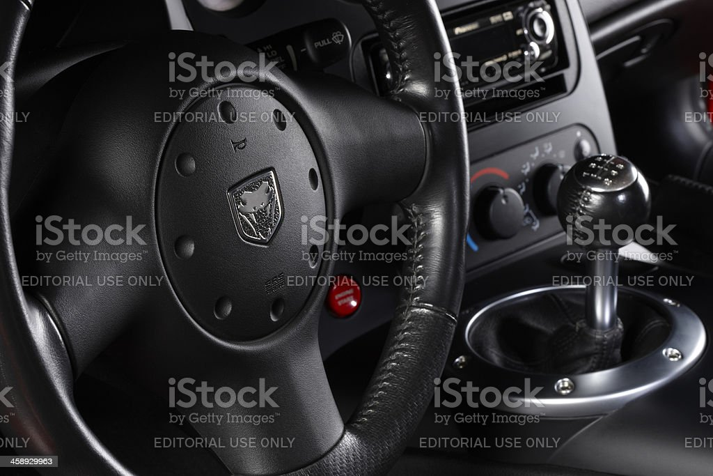 Dodge Viper SRT10 steering wheel and shifter stock photo