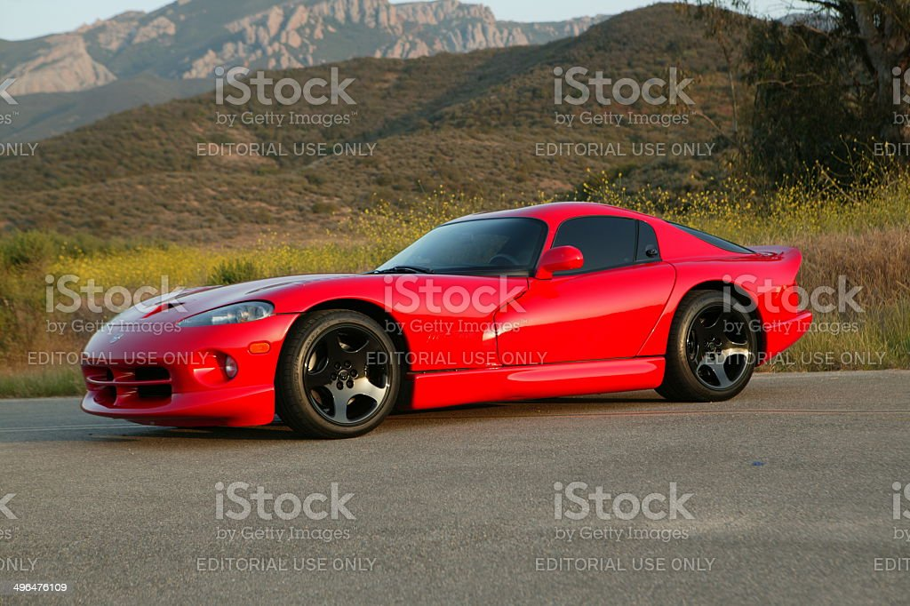 Dodge Viper with hills behind stock photo