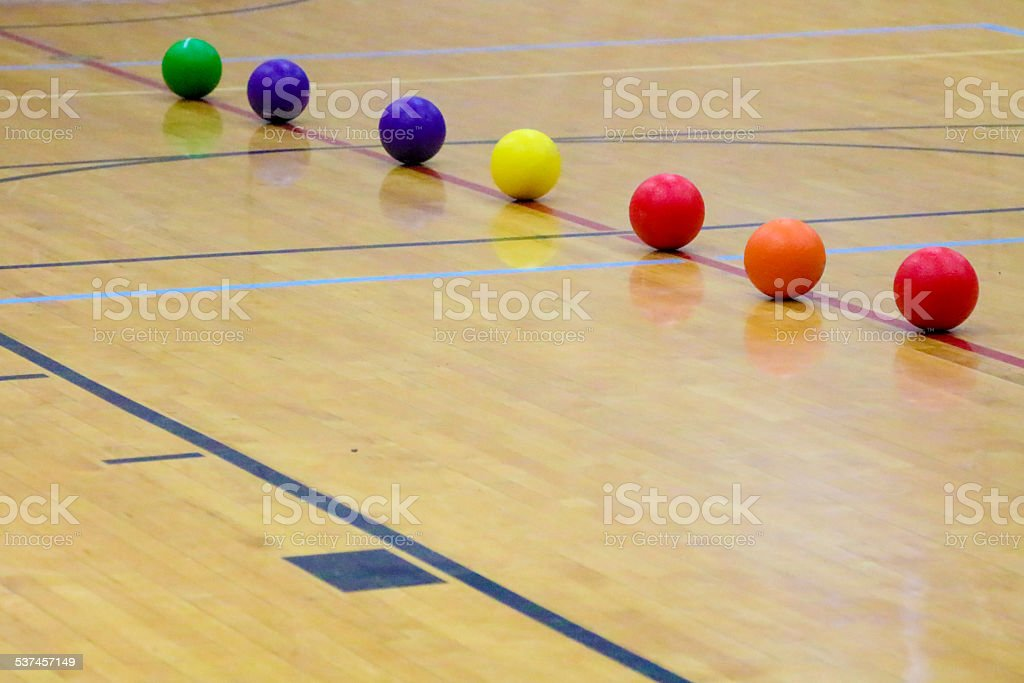 Dodgeball balls set up to start the game stock photo
