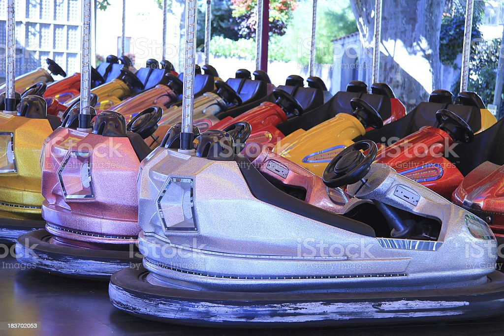Dodgem cars in a row royalty-free stock photo