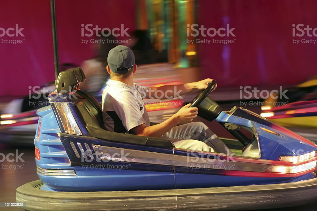 dodgems in action stock photo