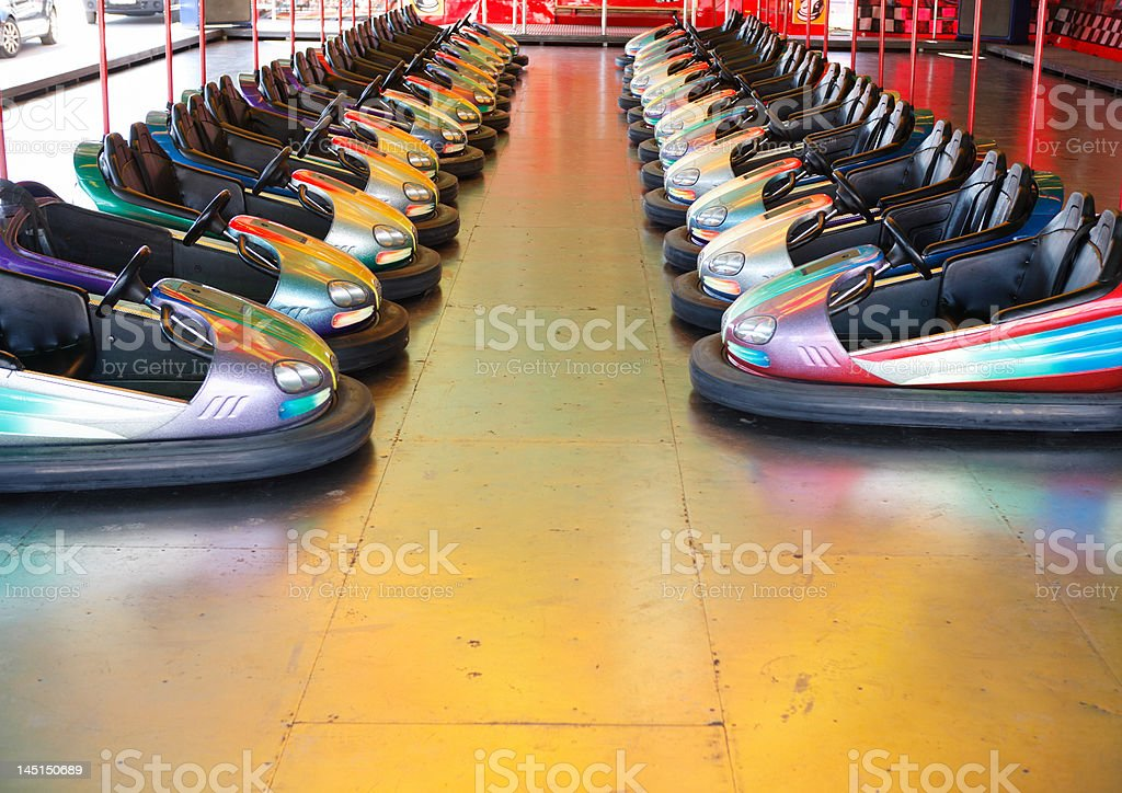 dodgems, two rows stock photo