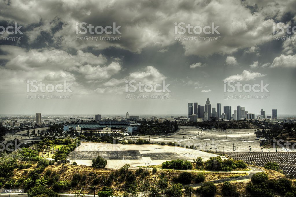 DTLA & Dodger Stadium stock photo