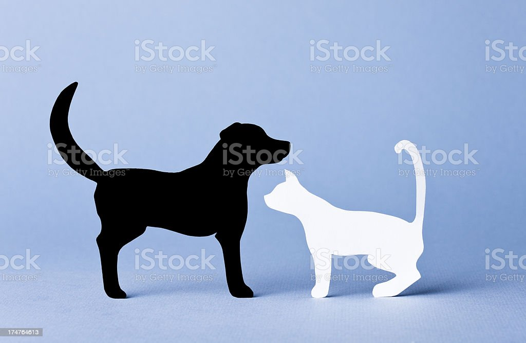 Dog and cat interacting - paper concept royalty-free stock photo