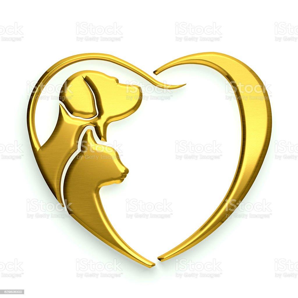 Dog and Cat Lover, Golden Heart. 3D Rendering Illustration stock photo