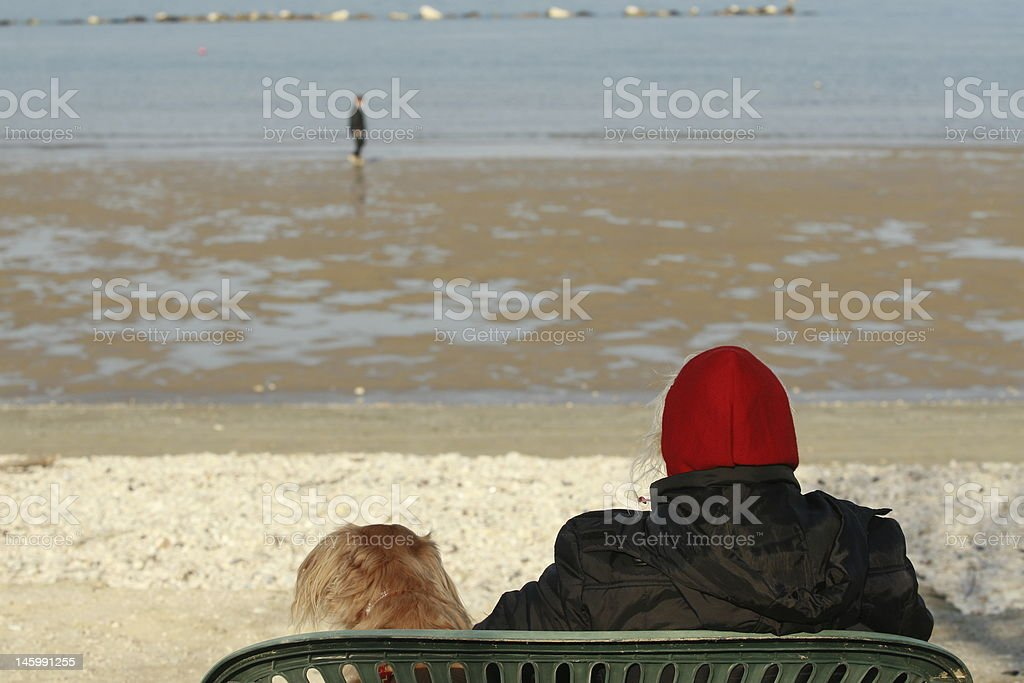 Dog and owners royalty-free stock photo